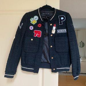 Zara Tweed Patchwork Bomber